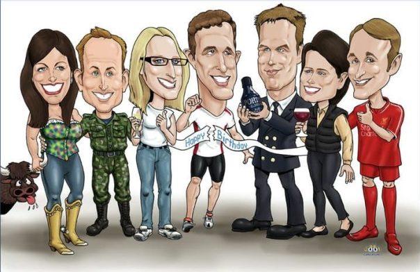 Group colour digital caricatures UK