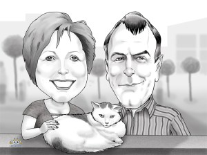 Anniversary Black White Head to Shoulders Digital Caricatures