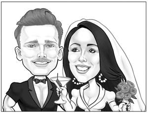 wedding cartoon portrait from photo