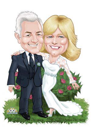 Digital wedding caricatures