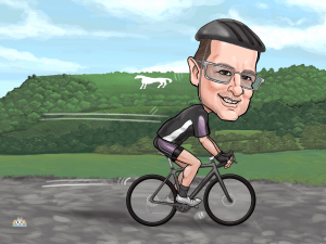 custom cycling caricature from photos online