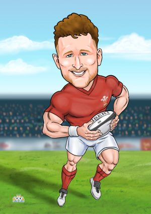 Welsh rugby caricature gift for him