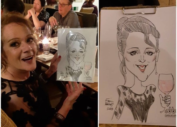 Adult birthday caricature artist, Suffolk, UK