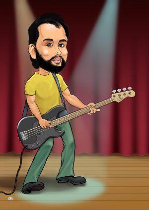 Musician cartoon portrait