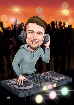 funny dj gift caricature