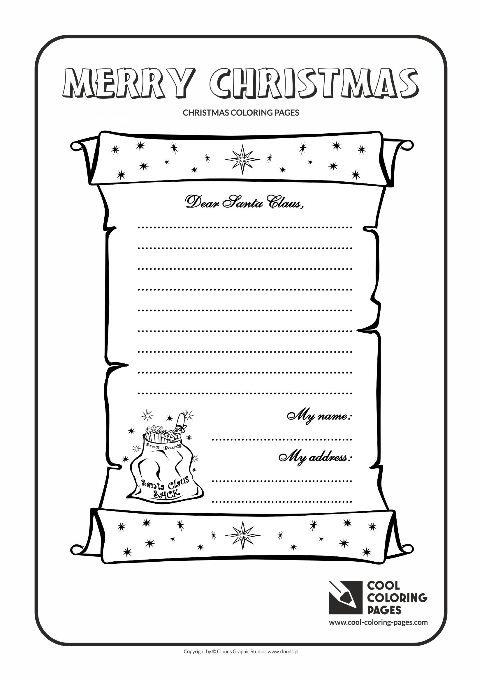 Cool Coloring Pages Letter To Santa Claus No 1 Coloring