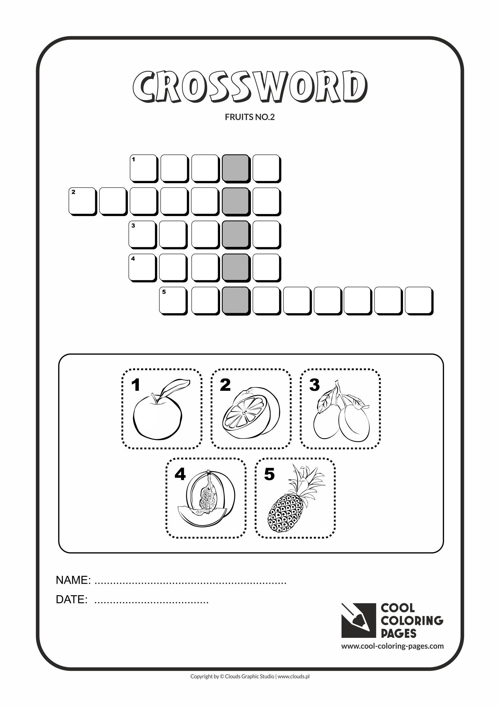 Crossword For Kids Fruits