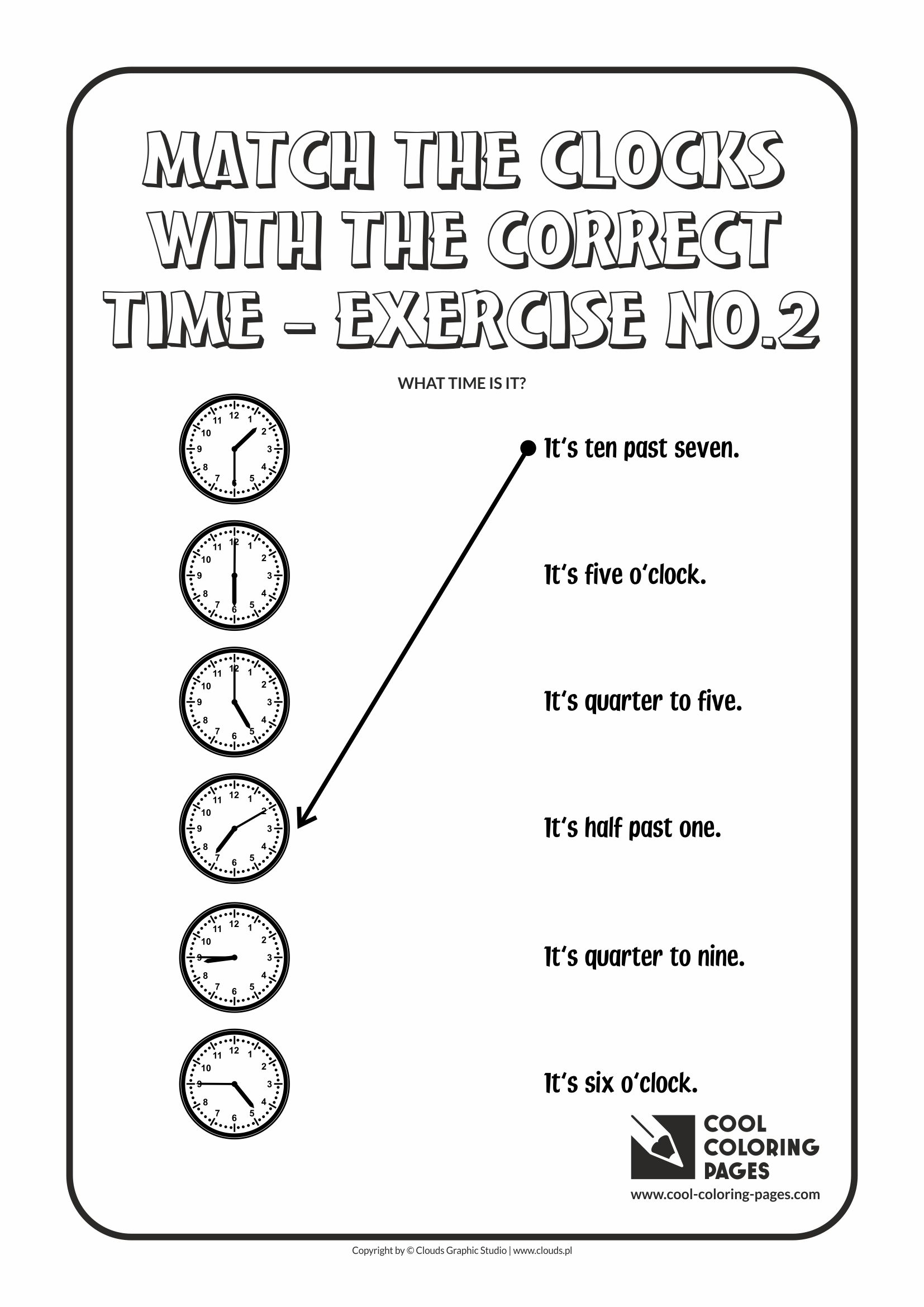 Cool Coloring Pages Match The Clocks With The Correct Time
