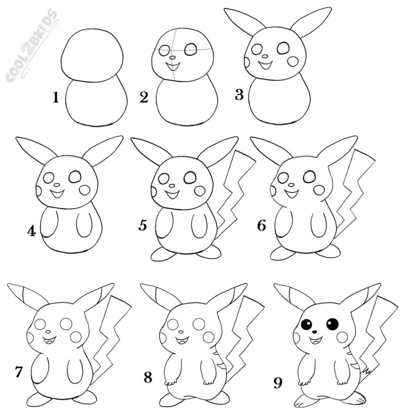 how to draw pikachu step by pictures cool2bkids