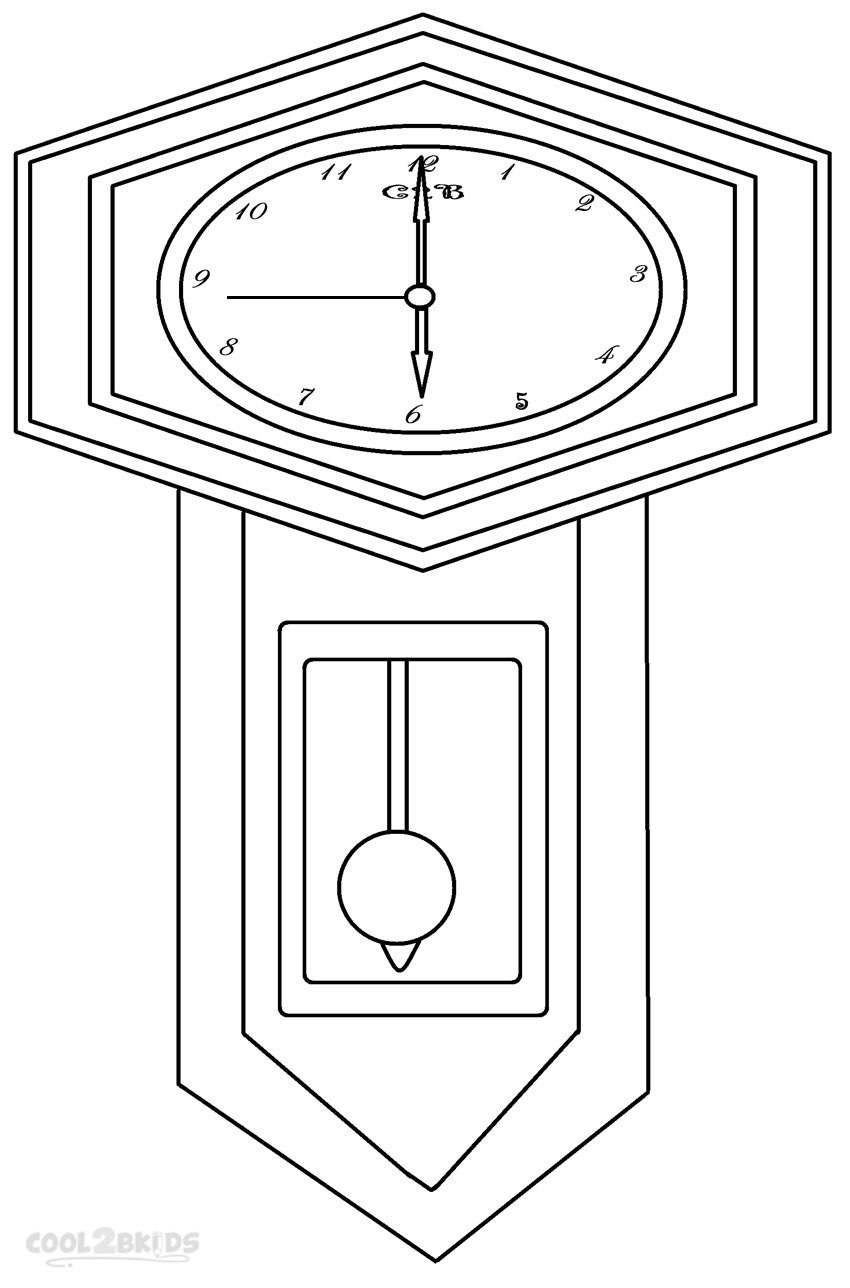 Grandfather Clock Coloring Page