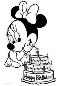 Free coloring pages of minnie mouse birthday