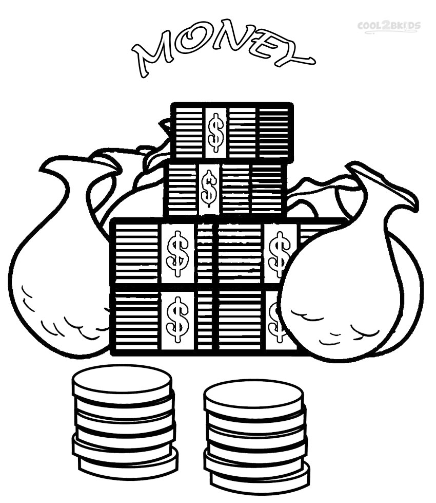 Printable Money Coloring Pages For Kids
