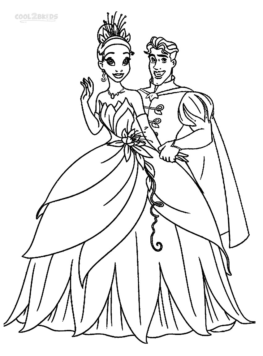 Princess Tiana And Prince Naveen Coloring Pages Coloring Page