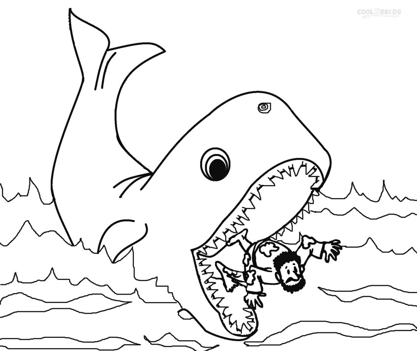 Jonah And The Whale Coloring Page Az Pages Sketch Coloring
