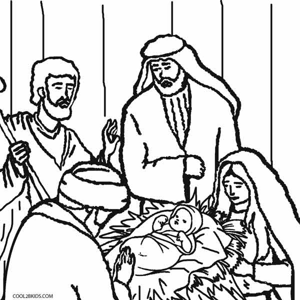 Nativity Scene Cutouts For Coloring Coloring Pages