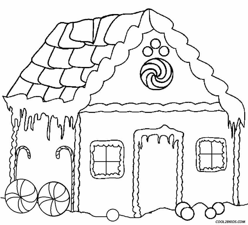 Printable Gingerbread House Coloring Pages For Kids
