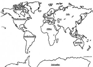 Printable World Map Coloring Page For Kids