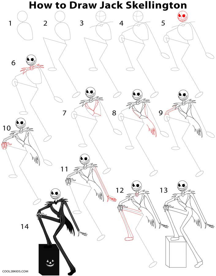 How to Draw Jack Skellington (Step by Step Pictures