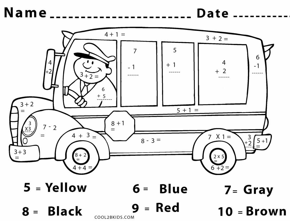 Color By Number Math Worksheet Middle School