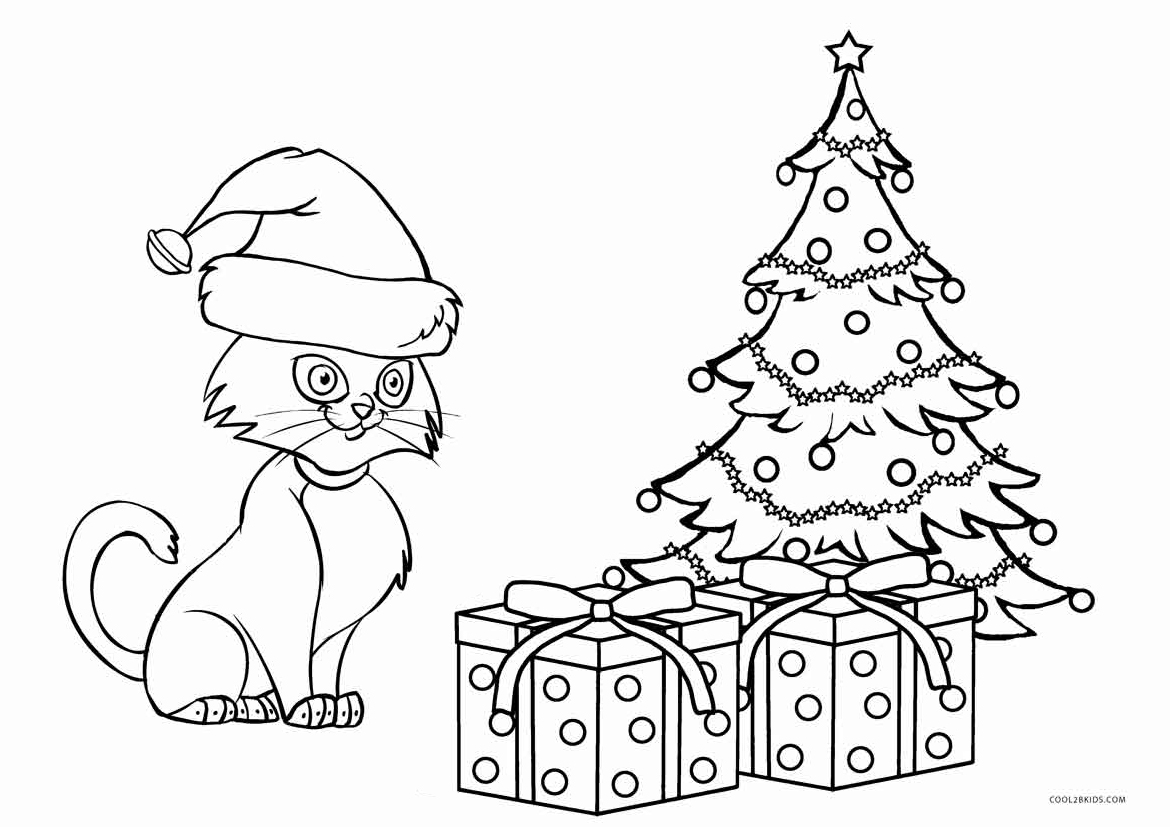 Christmas cat coloring page car essay