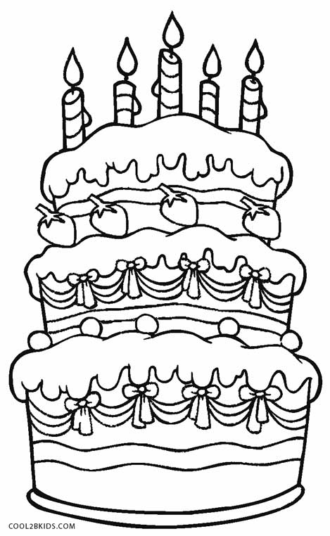 Birthday Cake Printable Coloring Pages Sketch Coloring Page