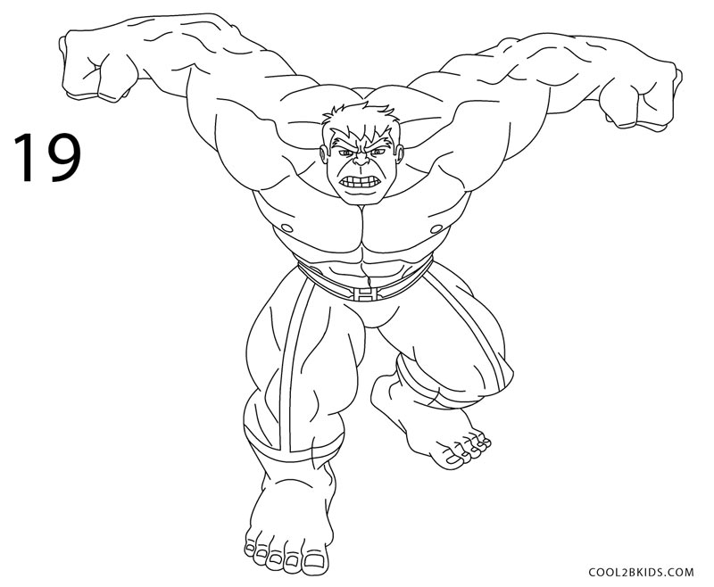 How to Draw Hulk Step by Step Pictures  Cool2bKids