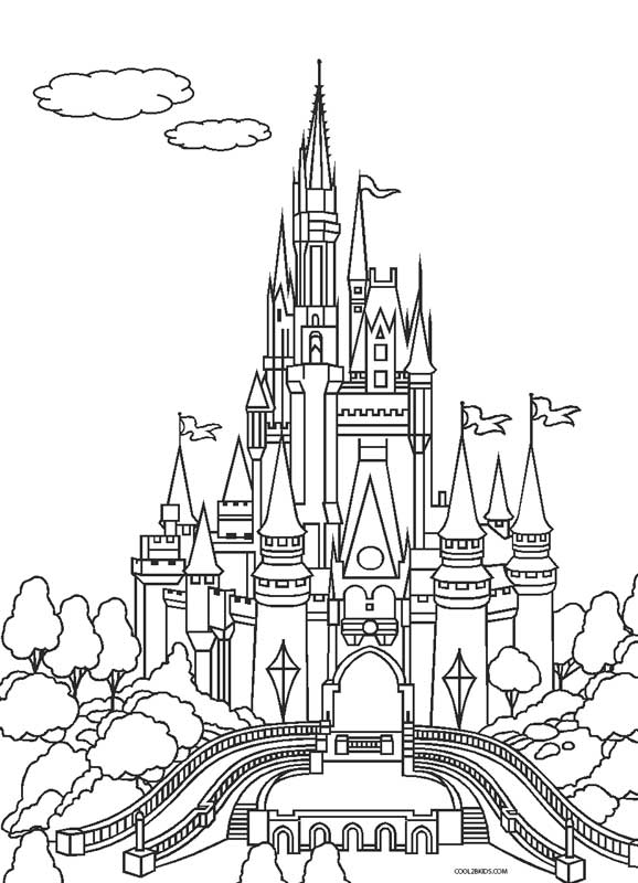 Free Coloring Pages Of Easy Castle Draw Disney Princess