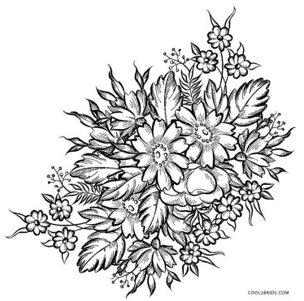 printable coloring pages of flowers # 4