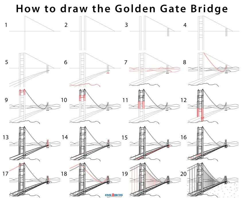 Golden Gate Bridge Drawing (Step by Step Pictures