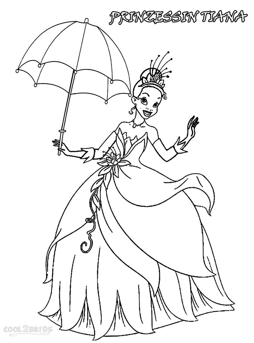 Ausmalbilder Prinzessin Tiana - Malvorlagen kostenlos zum