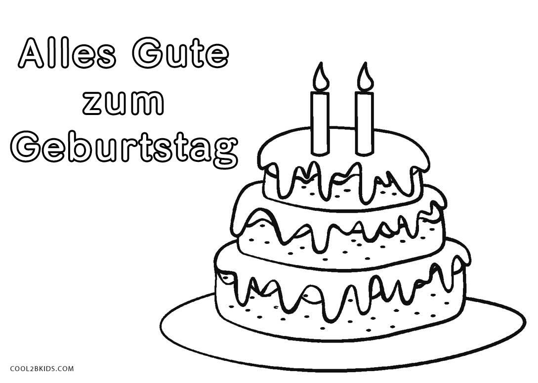 Ausmalbilder Geburtstagstorte - Malvorlagen kostenlos zum