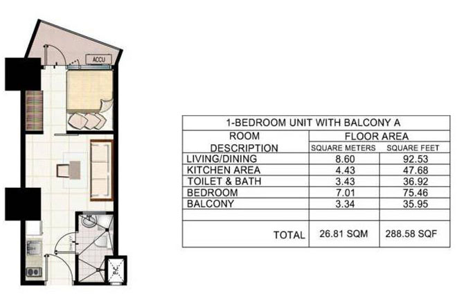 1 BEDROOM WITH BALCONY A SMDC JAZZ RESIDENCES