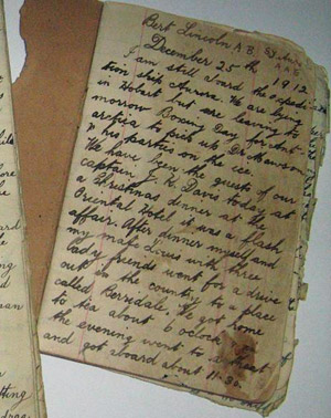 Bert Lincoln diary - page 1 December 25th 1912