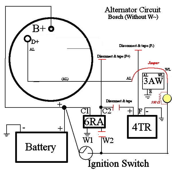 3 Wire Alternator Wiring Diagram And Resistor. Schematic