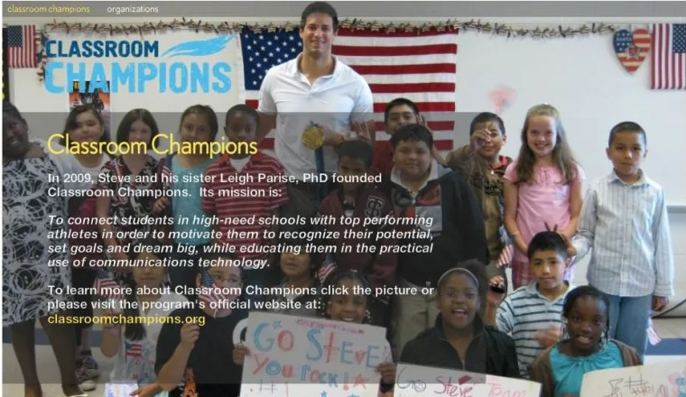 Steve Mesler has created Classroom Champions to pair Olympic Athletes with high needs schools.