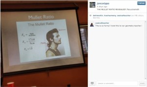 """I love following teachers on Instagram for just this reason. The """"mullet ratio"""" slides for teaching ratios where students measure """"party"""" (the back) to """"business"""" (the front) and calculate the mullet ratio was so gutt bustingly funny that the geometry teacher at my school and I had a belly laugh.  Instagram and Pinterest often give you welcome surprises like this one."""