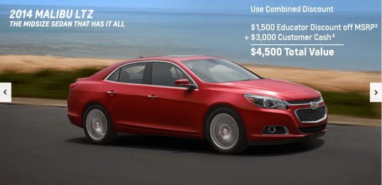 Chevrolet has an educator discount program
