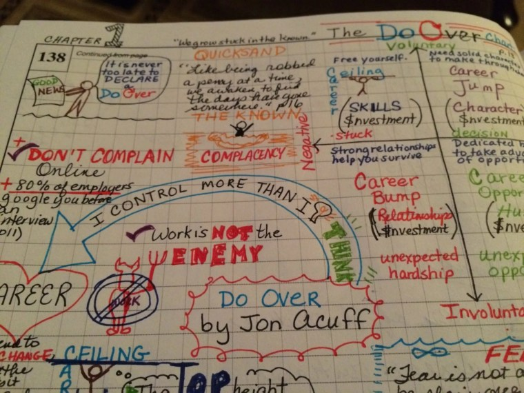 """When I read a great book, I sketchnote it. Here, I'm sketchnoting Jon Acuff's new book """"Do Over"""". Taking time to Sketchnote helps me remember  what I've learned."""