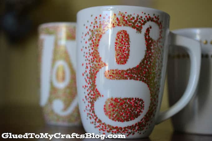 diy monogram mugs with sharpie
