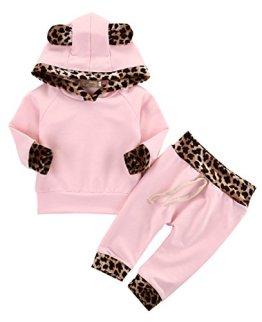 Neugeborenes Baby Mädchen Warm Hoodie T-Shirt Top + Hose Outfits Set Kleidung Set (0-6 Monat) -