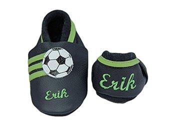 Schluppie – Baby Fussballschuhe – Leder, grau-grün -
