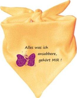 """KLEINER FRATZ – Baby Halstuch """"Alles was ich ansabbere gehört mir"""" – gelb"""