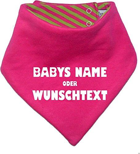 KLEINER FRATZ – mitwachsendes Wende Halstuch mit Wunschdruck in 7 Designs – pink/lime