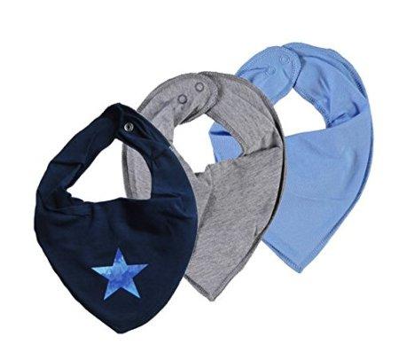Name IT –  Baby Halstuch Dreieckstuch – Nityasim Stern/uni blau grau, 3er Set