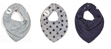 Pippi – Baby Halstuch Dreieckstuch – uni grau/grau mit STERNE navy/uni navy, 3er Pack