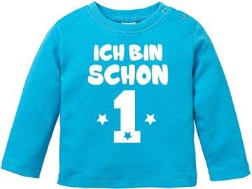 "EZYshirt® – Baby T-Shirt Longsleeve ""Ich bin schon eins"" – blau/rot -"