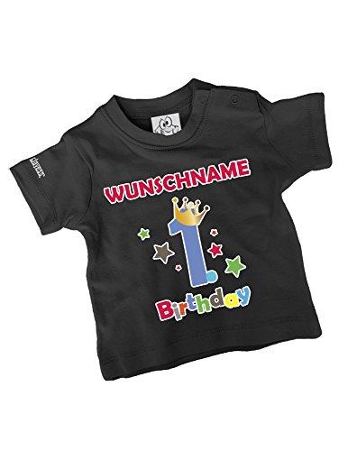 """Jayess – Baby T-Shirt """"1.Geburtstag mit Wunschnamen"""" – schwarz -"""