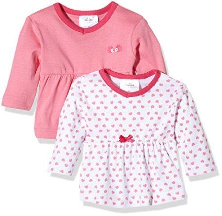 Twins – Baby Mädchen Langarmshirts – weiss/rosé, 2er Pack -
