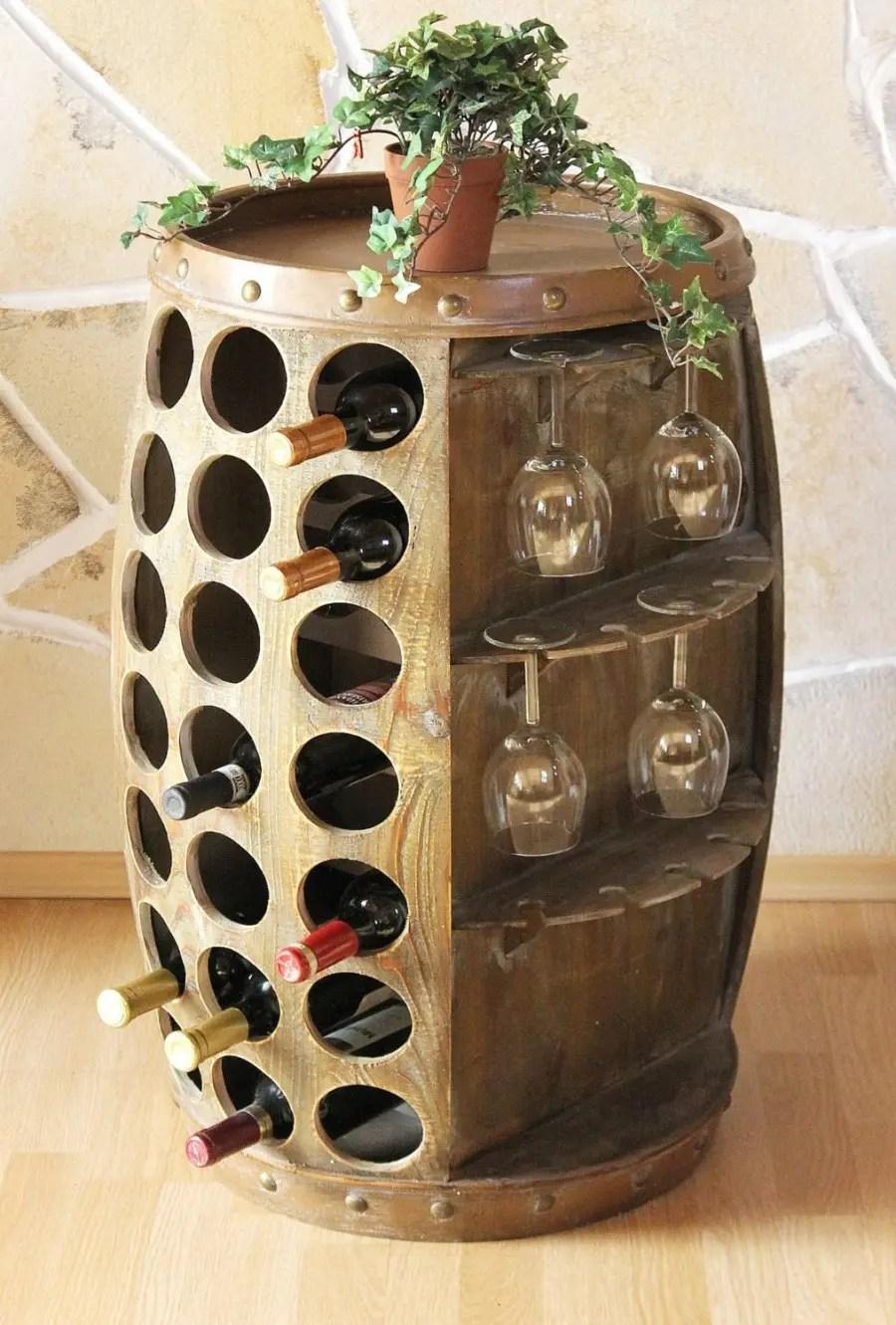 Weinregal Weinfass Holzfass fr 42 Weinflaschen Fass Design