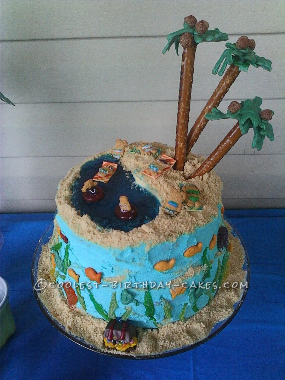 Coolest Homemade All Edible Beach Birthday Cake